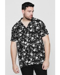 Boohoo Big And Tall Black Floral Short Sleeve Shirt