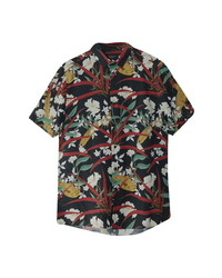 Topman Bird Floral Print Short Sleeve Button Up Shirt