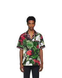 Dolce and Gabbana Black And Green Anthurium Hawaiian Shirt
