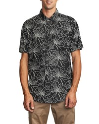 RVCA Blind Floral Short Sleeve Button Up Shirt
