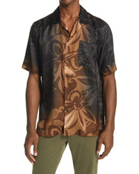 Dries Van Noten Carltone Floral Short Sleeve Button Up Shirt