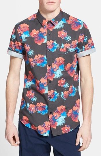 23d2c3a46d3b32 Topman Classic Fit Short Sleeve Floral Print Shirt, $50   Nordstrom    Lookastic.com