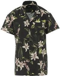Deus Ex Machina Dean Resort Shirt Short Sleeve Black Floral L