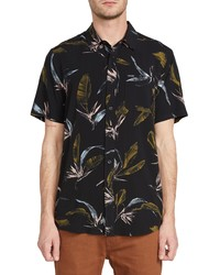 Volcom Faxer Slim Fit Floral Short Sleeve Button Up Shirt
