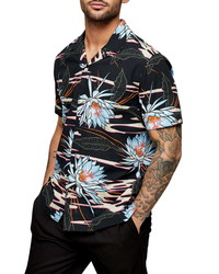 Topman Floral Button Up Camp Shirt