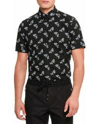 Dolce & Gabbana Floral Print Short Sleeve Cotton Shirt Black