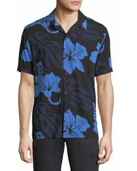 Neiman Marcus Floral Printed Short Sleeve Sport Shirt