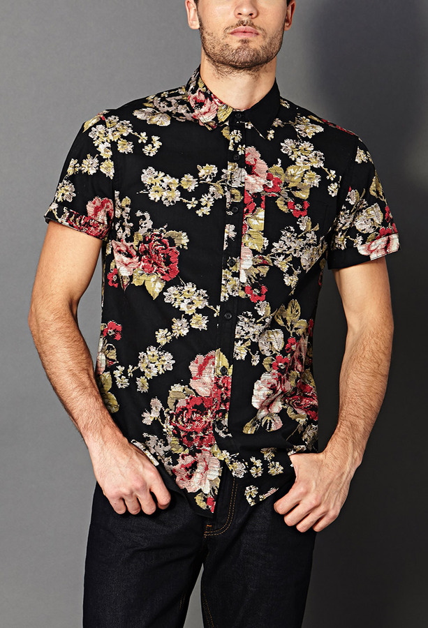Forever 21 21 slim fit floral shirt where to buy how for Mens short sleeve floral shirt