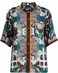 G Floral Print Short Sleeved Silk Pyjama Shirt