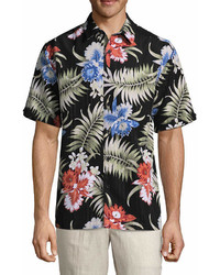 Havanera Havanera Tropical Prints Short Sleeve Floral Button Front Shirt Big And Tall