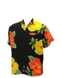 *La Leela* La Leela Black Floral Printed Aloha Hawaiian Shirt For L