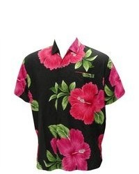 *La Leela* La Leela Black Pink Floral Printed Hawaiian Shirt For Xl