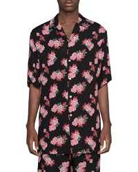 Gucci Peony Fantasy Short Sleeve Gg Jacquard Button Up Shirt