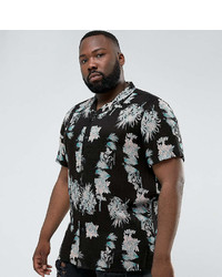 Asos Plus Regular Fit Viscose Floral Print Shirt With Revere Collar