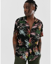 ASOS DESIGN Relaxed Painted Style Floral Shirt In Black
