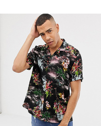 ASOS DESIGN Tall Relaxed Painted Style Floral Shirt In Black