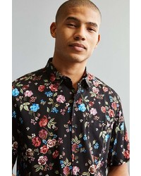 Urban Outfitters Uo Rose Vineyard Rayon Short Sleeve Button Down Shirt