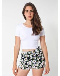 American Apparel Floral Print Four Way Stretch Twill High Waist Cuff Short