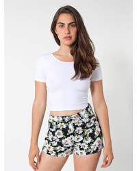 American Apparel Floral Print Four Way Stretch Twill High Waist Cuff Short