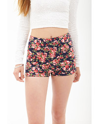 Forever 21 High Waist Floral Knit Shorts