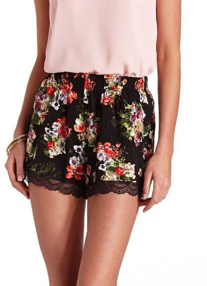 Charlotte Russe Lace Trimmed Floral Print High Waisted Shorts ...