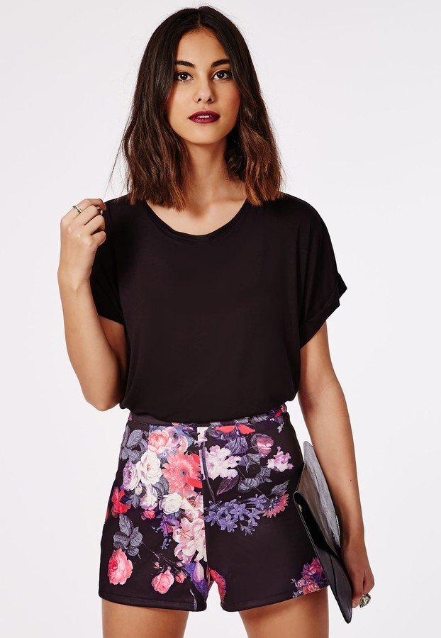 Missguided Floral Print High Waisted Scuba Shorts Black   Where to ...