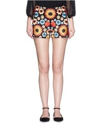 Alice + Olivia Sherri Floral Embroidery Shorts