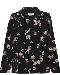 Valentino Floral Print Silk Crepe De Chine Blouse Black
