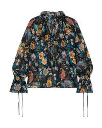 Etro Ruffled Floral Print Silk Chiffon Blouse