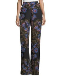 Wide leg high waist floral print silk pants medium 6838829