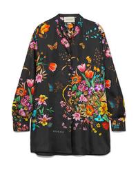 Gucci Oversized Floral Print Silk Twill Shirt