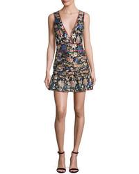 BA&SH Jade Metallic Floral Silk V Neck Mini Dress Noir