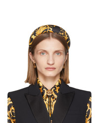 Versace Black And Yellow Silk Barocco Headband
