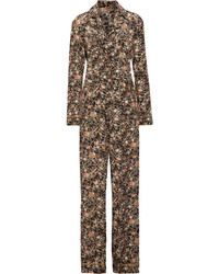 Adam lippes metallic floral print silk twill jumpsuit black medium 6838569