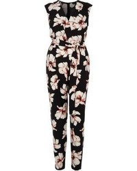 River Island Black Floral Print Sleeveless Jumpsuit