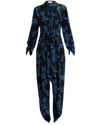 Floral print silk jumpsuit medium 6838571