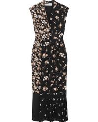 Golden Goose Deluxe Brand Floral Print Silk Crepe De Chine Maxi Dress Black