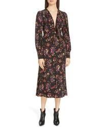 Veronica Beard Amber Floral Print Midi Dress
