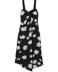 Vince Asymmetric Floral Print Silk Midi Dress