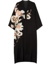 Etro Floral Print Silk De Chine Midi Dress