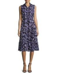Kate Spade New York Sleeveless Tie Neck Floral Silk Midi Dress Blackblue