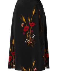 Valentino Floral Print Silk De Chine Wrap Skirt