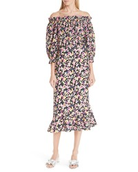 Saloni Grace Print Silk Off The Shoulder Dress