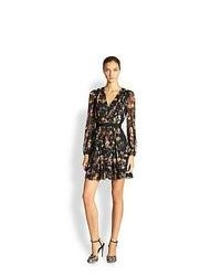 Giambattista Valli Silk Floral V Neck Dress Black