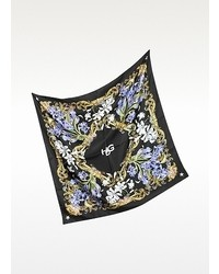Givenchy Floral Hdg Black Silk Square Scarf