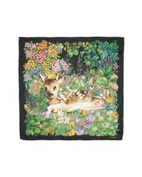 Gucci Flower Deer Foulard Silk Twill Scarf