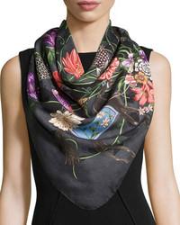 Gucci Ofelie Floral Silk Twill Scarf