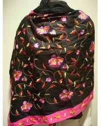 Privee Selection Isabel Black Wool  And Silk Blend Floral Shawl