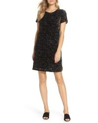 FOREST LILY Velvet Silk Burnout Shift Dress