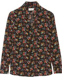Saint Laurent Floral Print Silk Crepe De Chine Shirt Black